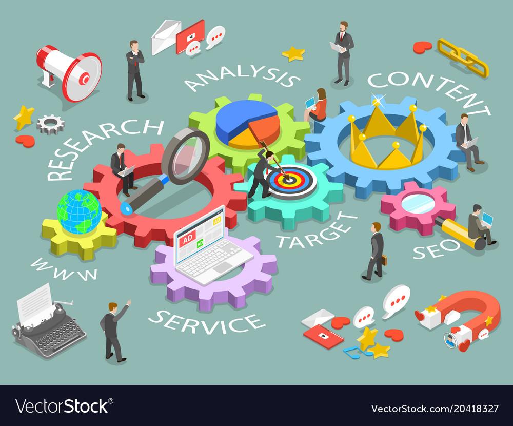 Digital marketing flat isometric concept Vector Image