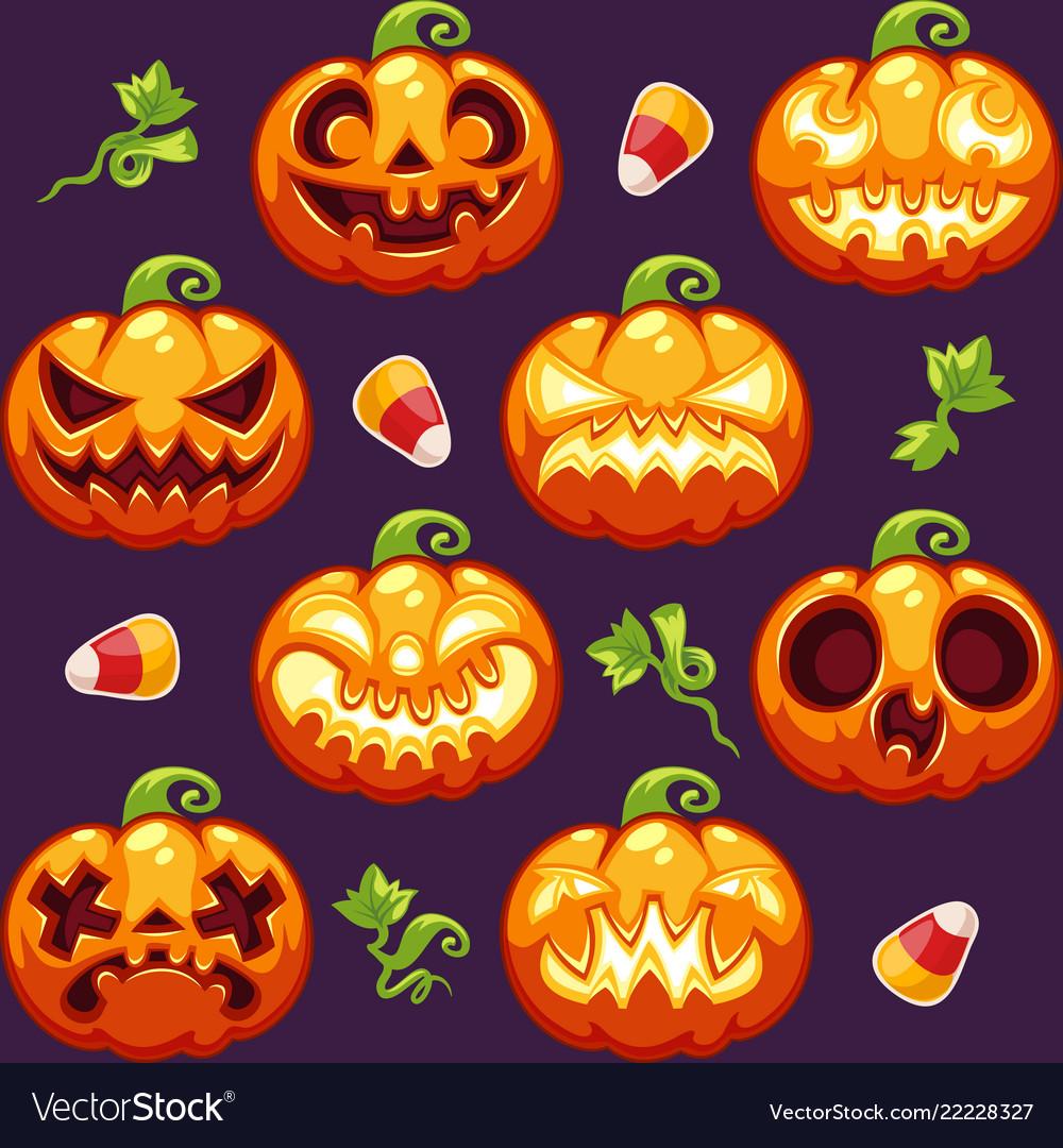 Halloween seamless pattern with pumpkins on dark