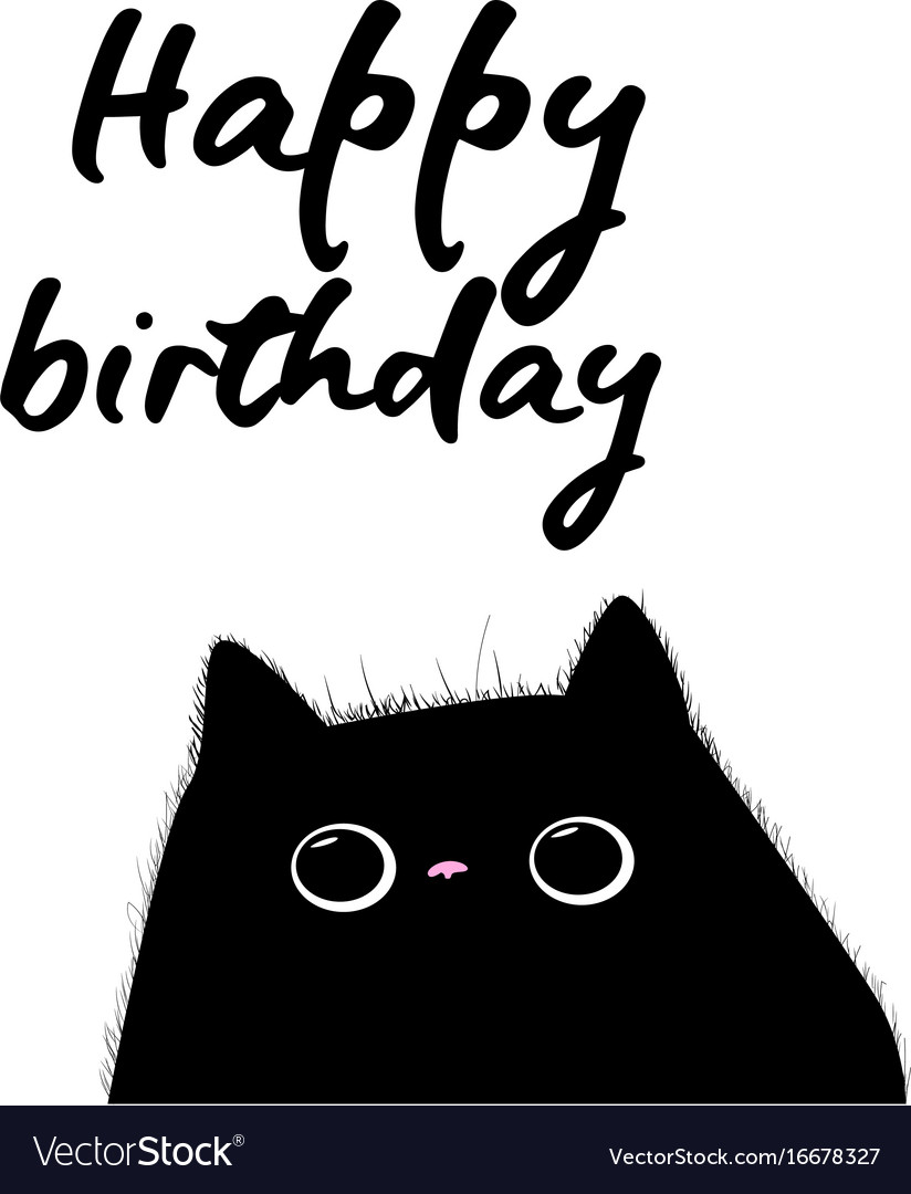 Happy Birthday Card With Black Cat Royalty Free Vector Image