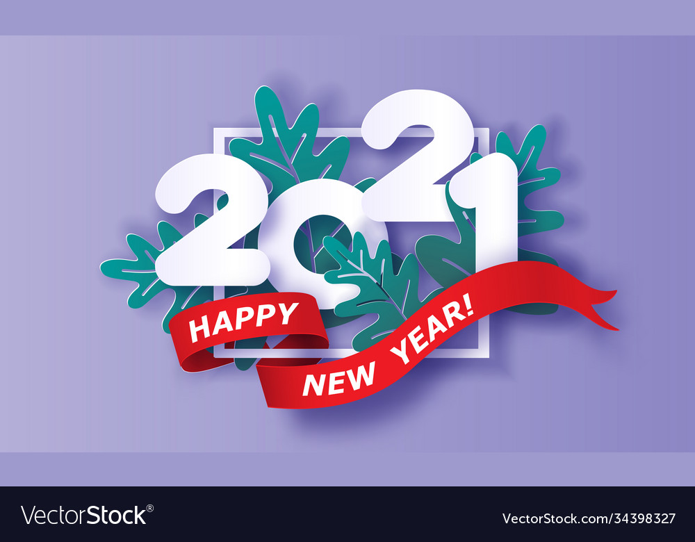 Happy new year 2021 card paper cut style