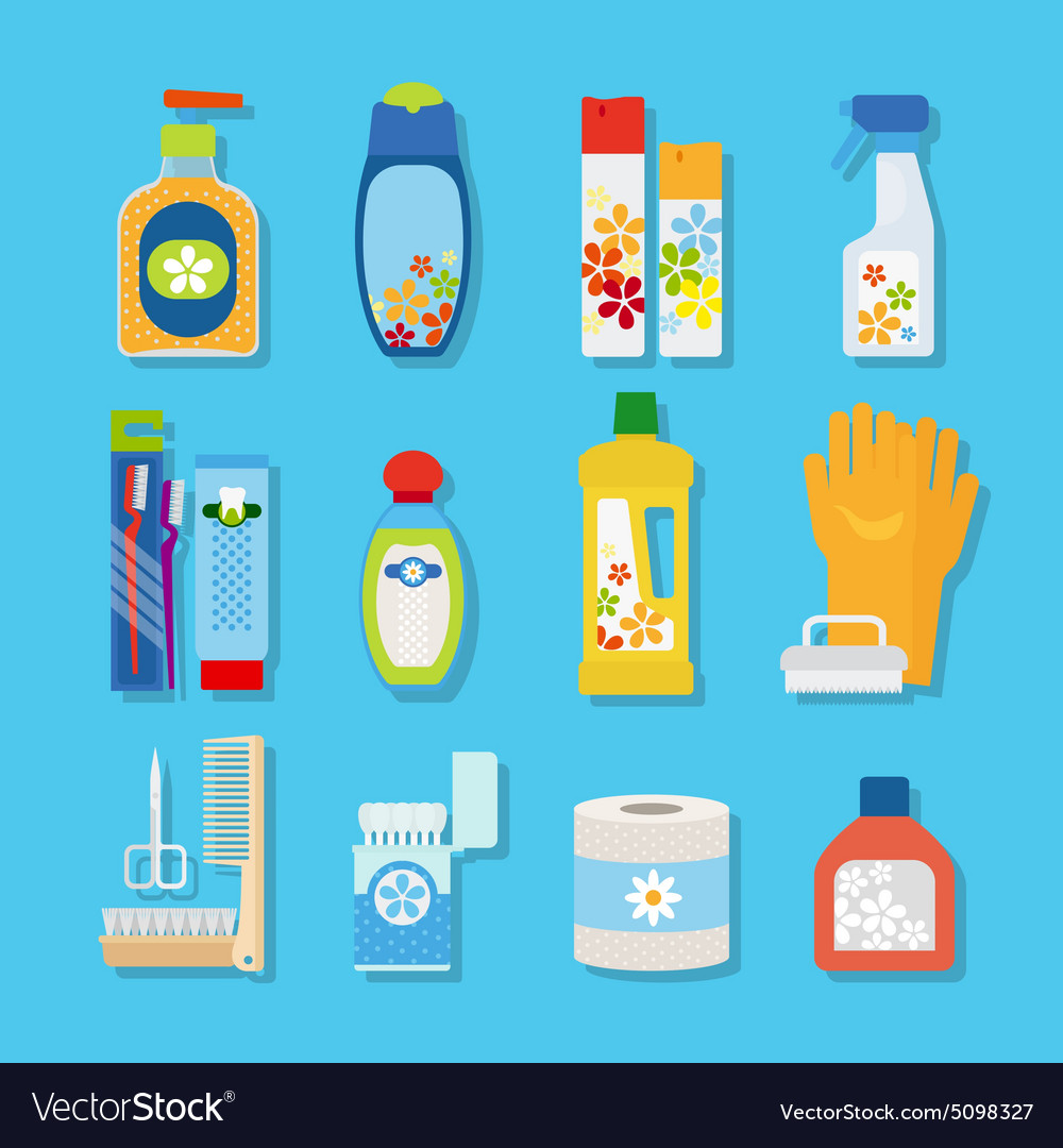 Hygiene and cleaning products flat icons vector image