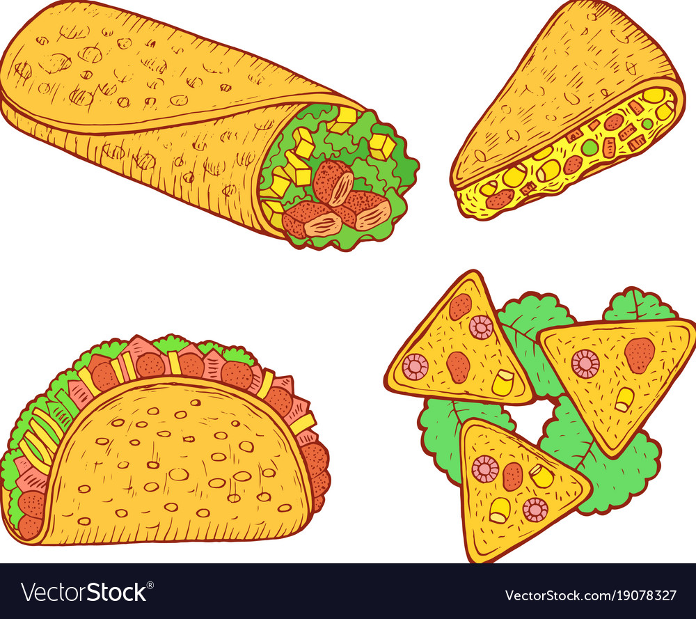 mexican food set graphic doodle cartoon art vector image rh vectorstock com cartoon american football players Cartoon Plate of Mexican Food