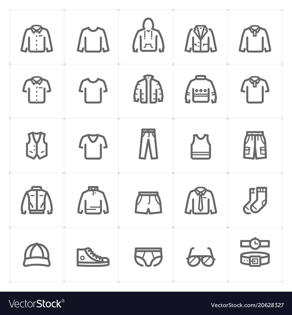 Mini icon set - clothing man icon bold line style