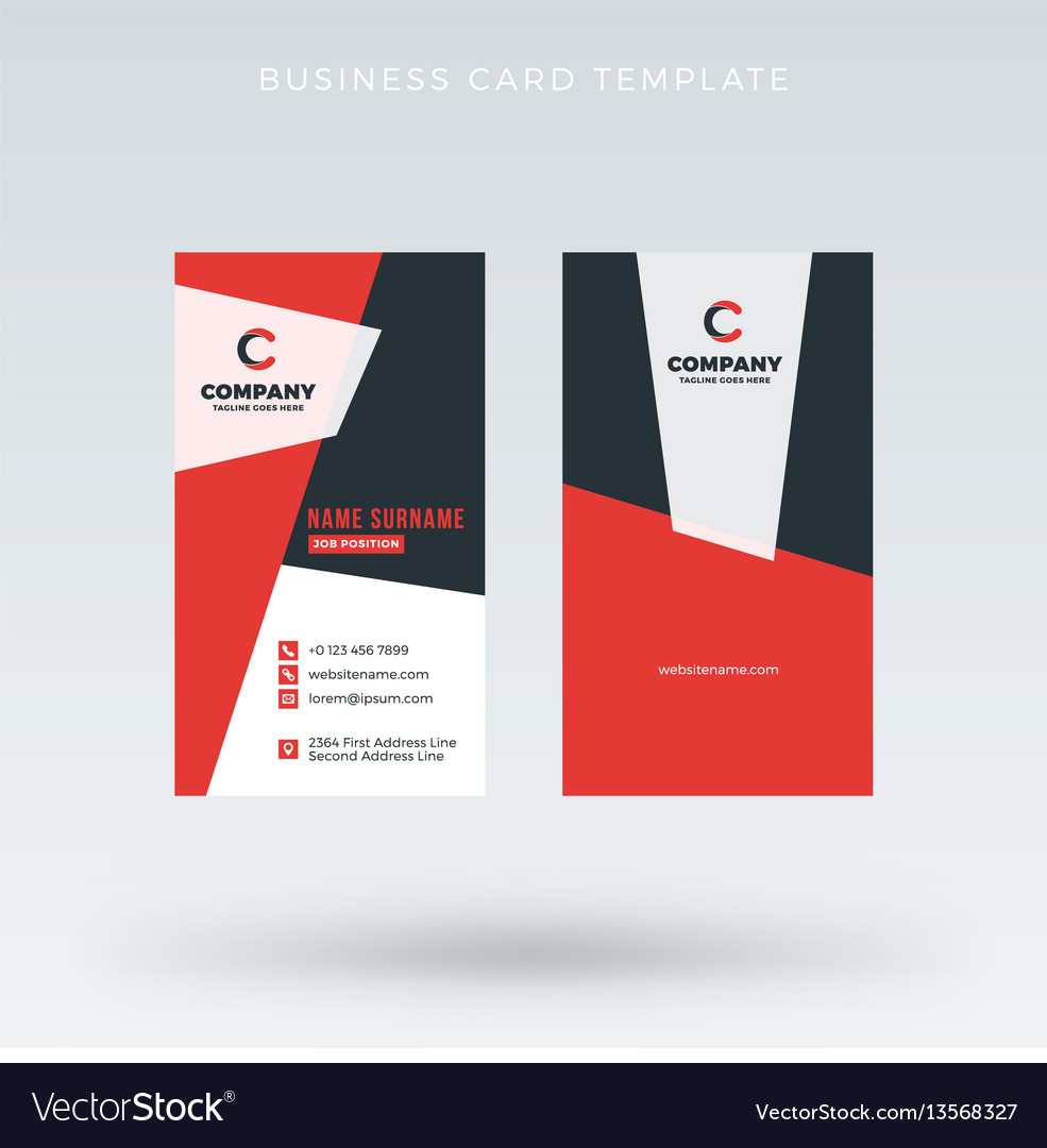 Modern creative vertical red business card vector image reheart Choice Image