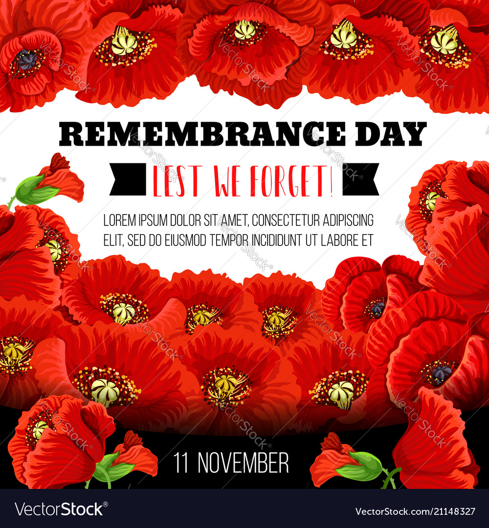 Remembrance day poppy flower memorial wreath card vector image mightylinksfo