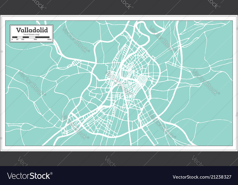 Map Of Spain Valladolid.Valladolid Spain City Map In Retro Style Outline