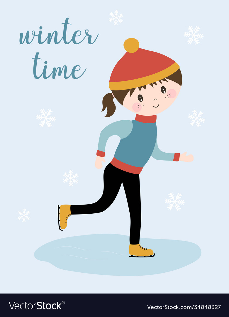 Winter card with girl on skates