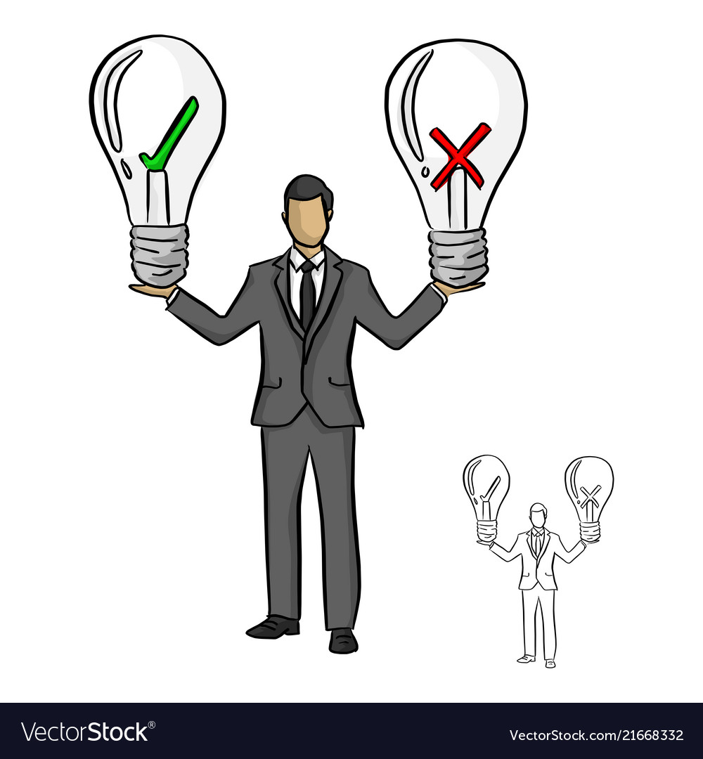 Businessman holding big bulb