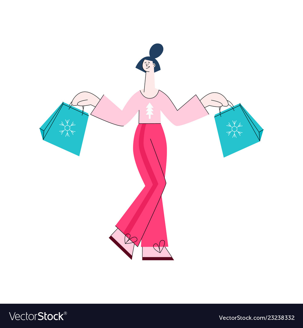 Flat woman with present gift boxes