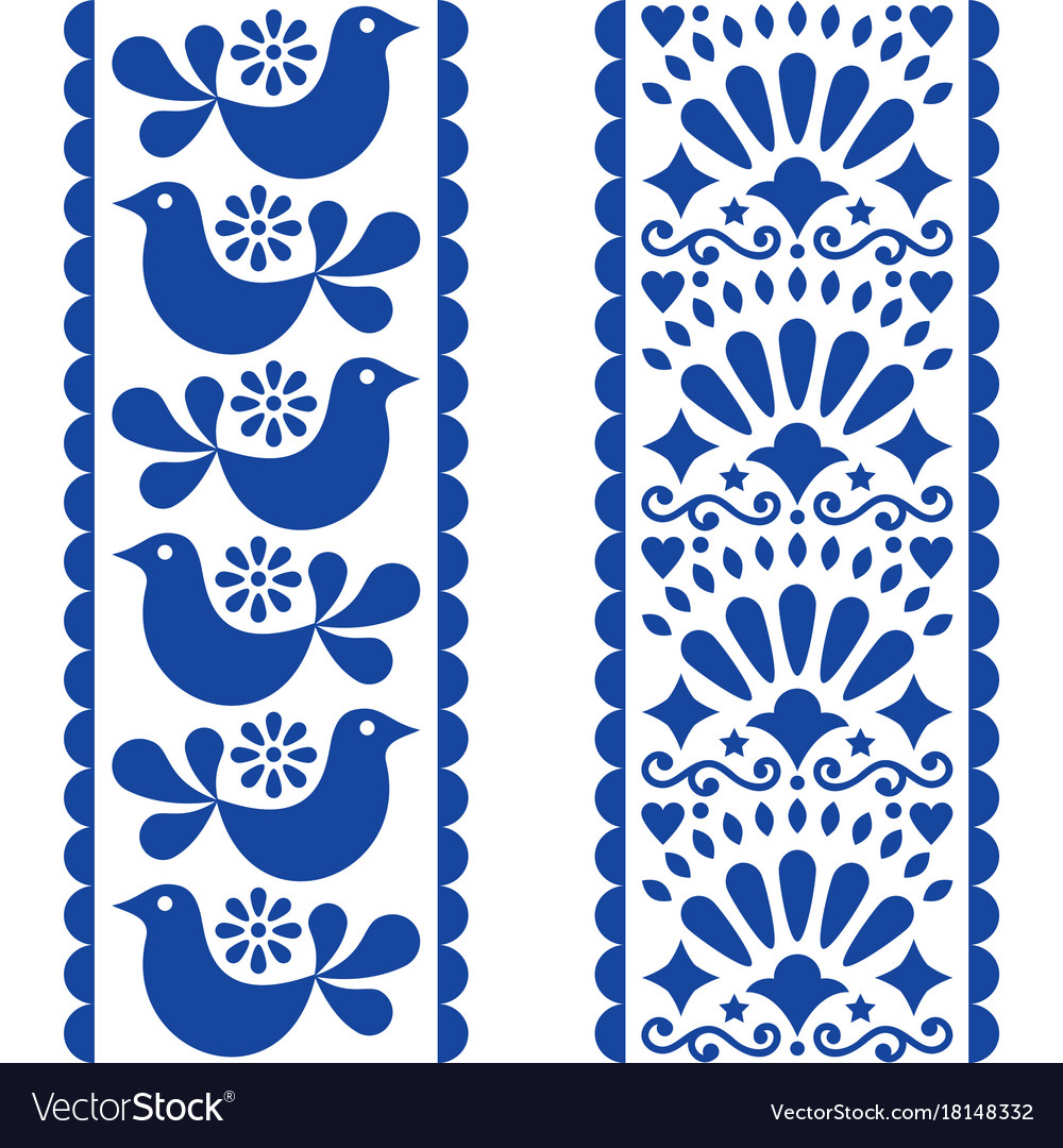 Folk art seamless pattern - mexican style long str