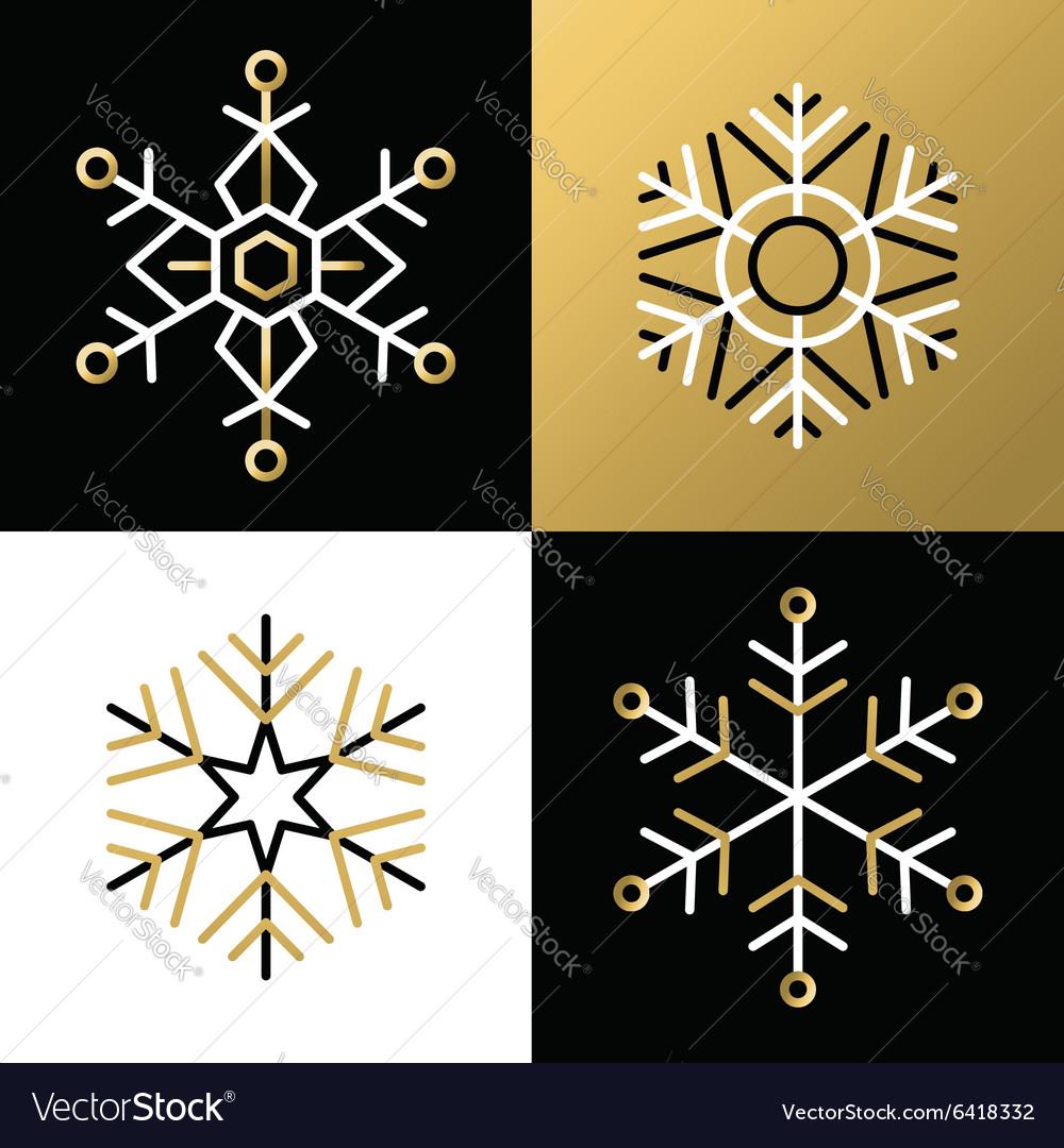 Gold outline line snowflake set icon christmas