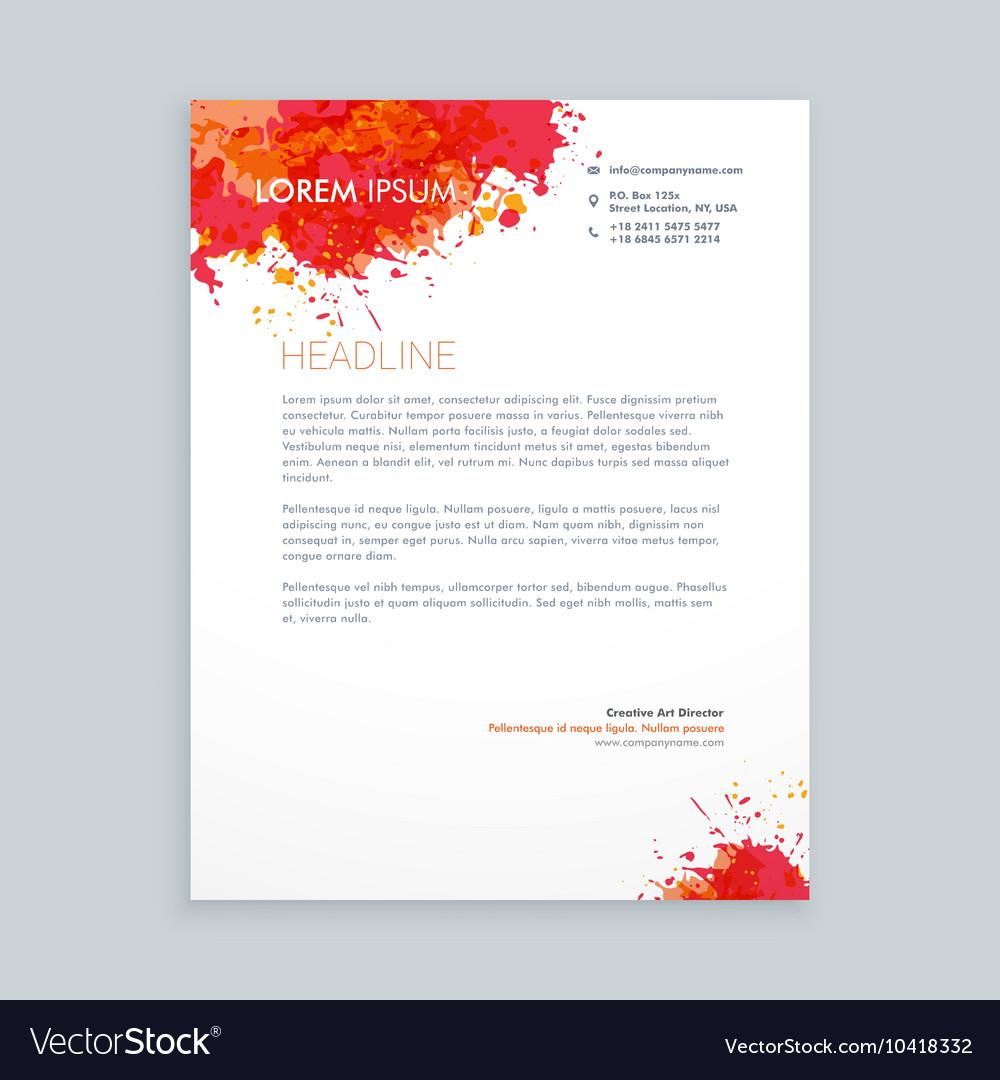 Ink splash letterhead design vector image