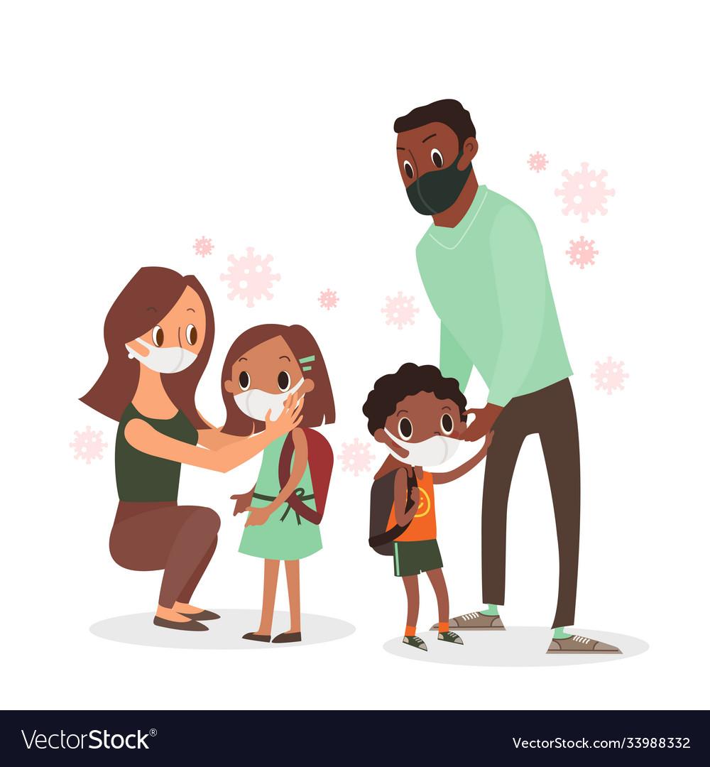 Parent protecting their children from coronavirus