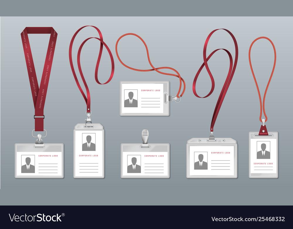 Realistic lanyard badge employee identification