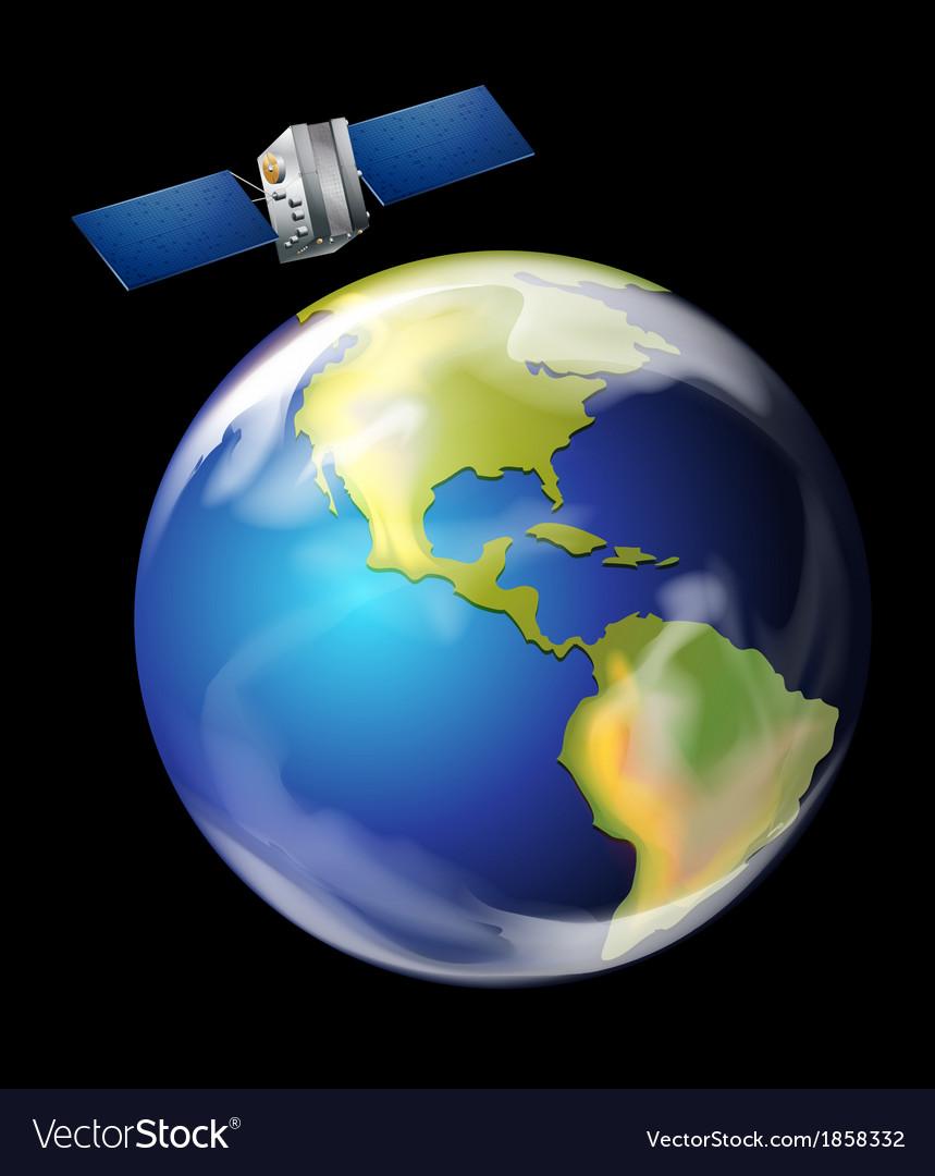 satellite orbiting earth royalty free vector image