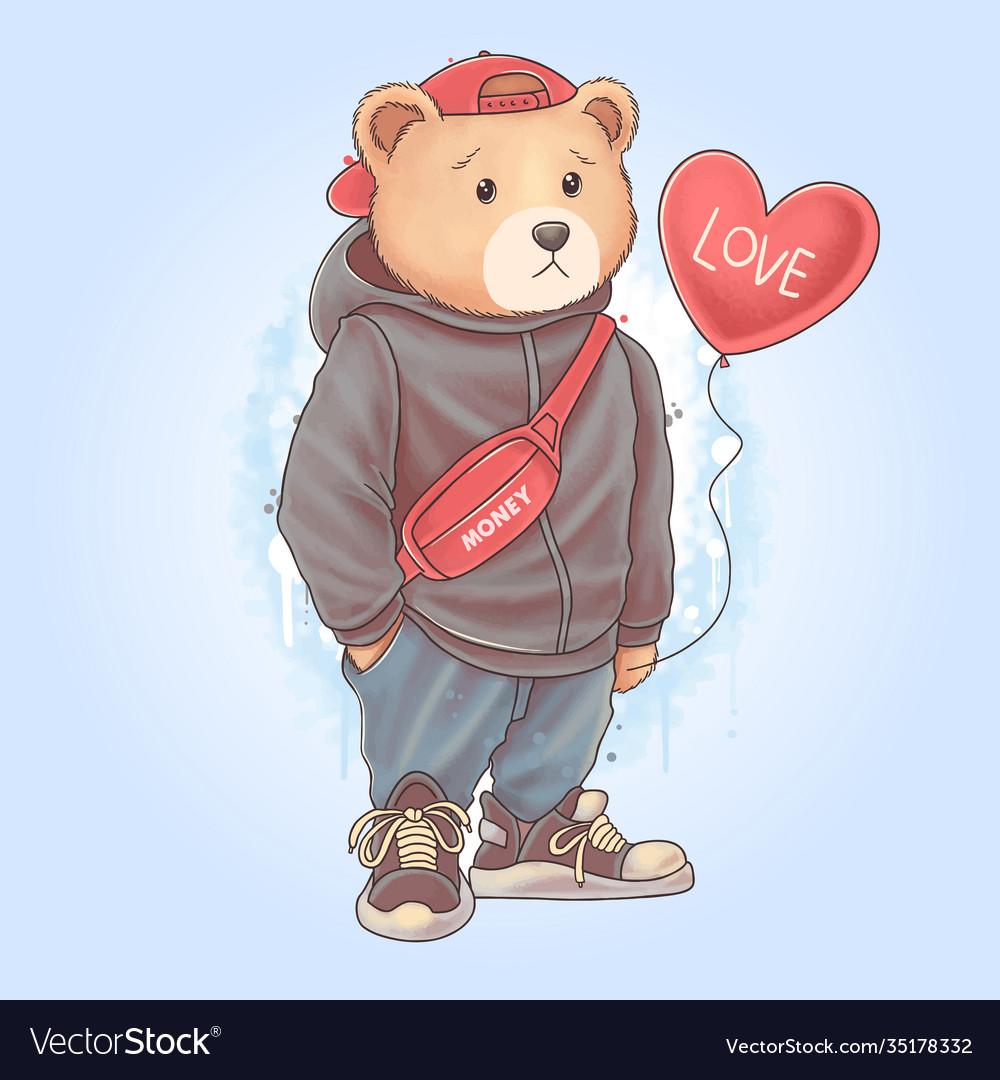 Teddy bear carrying love heart balloon