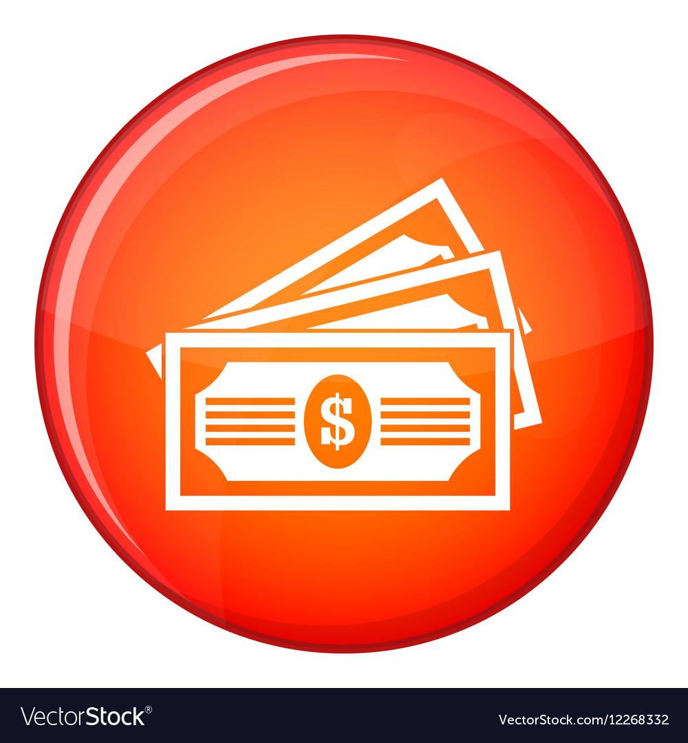 Three dollar bills icon flat style vector image