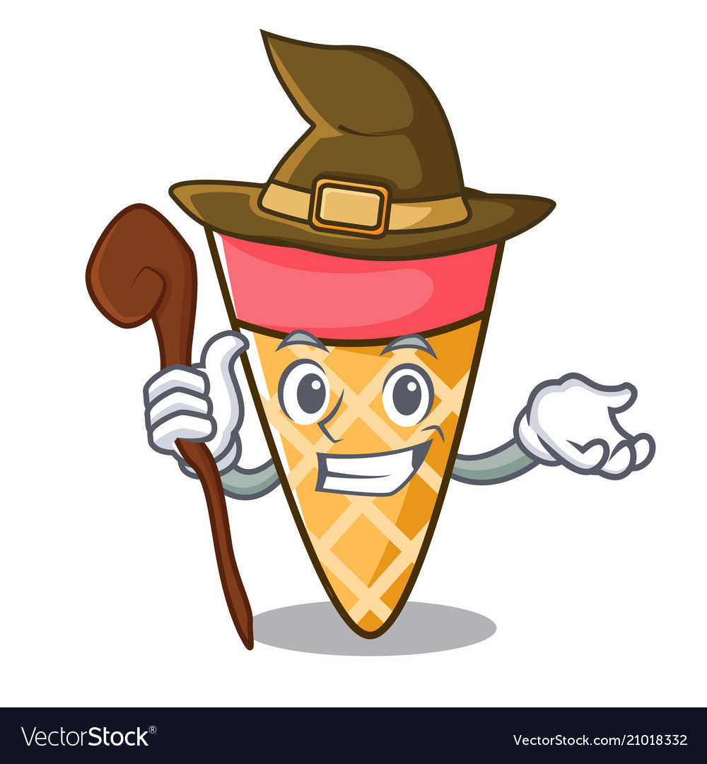 Witch ice cream tone mascot cartoon