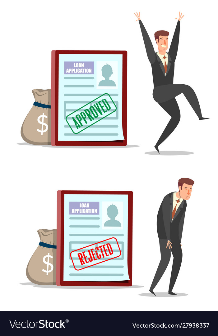 Approved and rejected loan application forms with