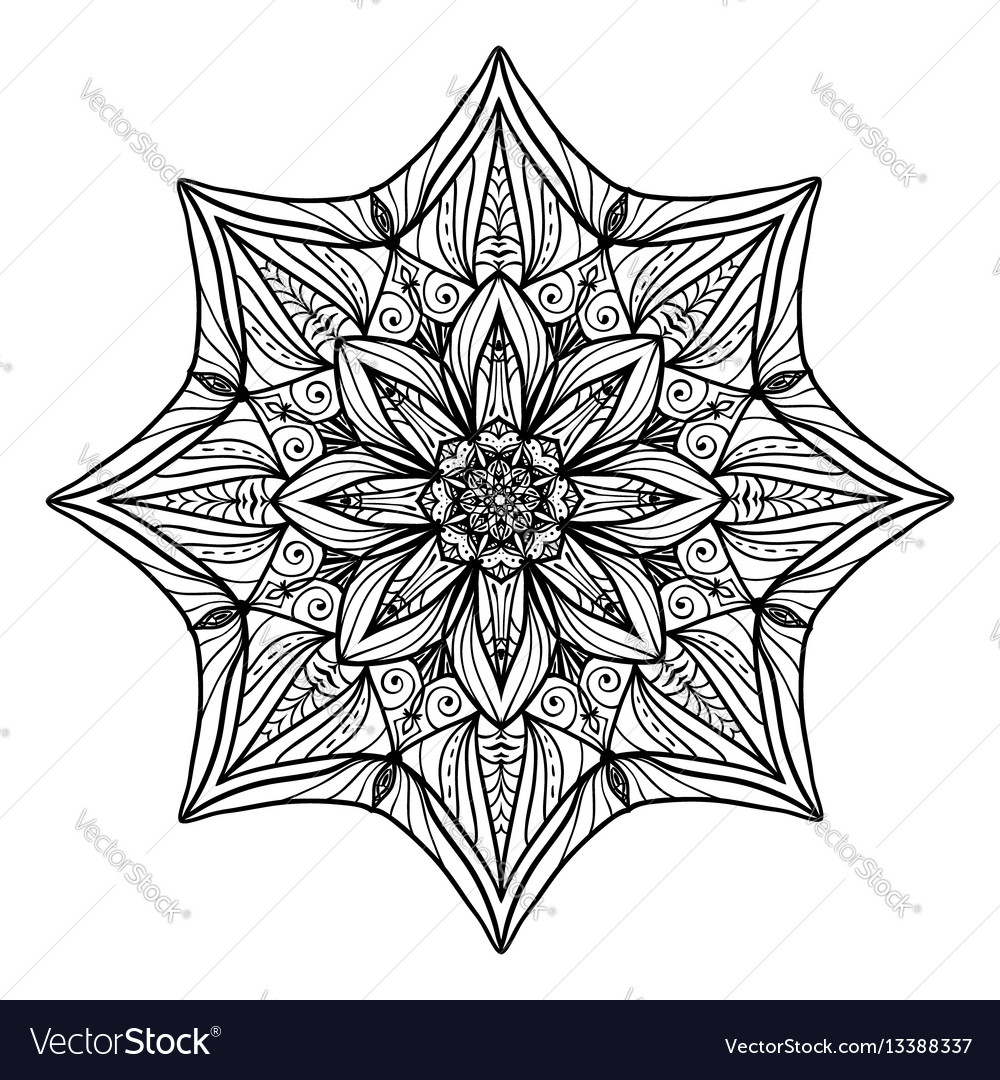 Beautiful deco floral mandala round