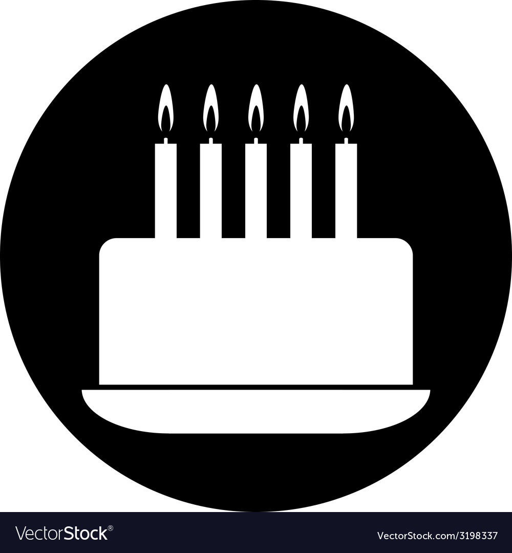 Birthday cake symbol button Royalty Free Vector Image