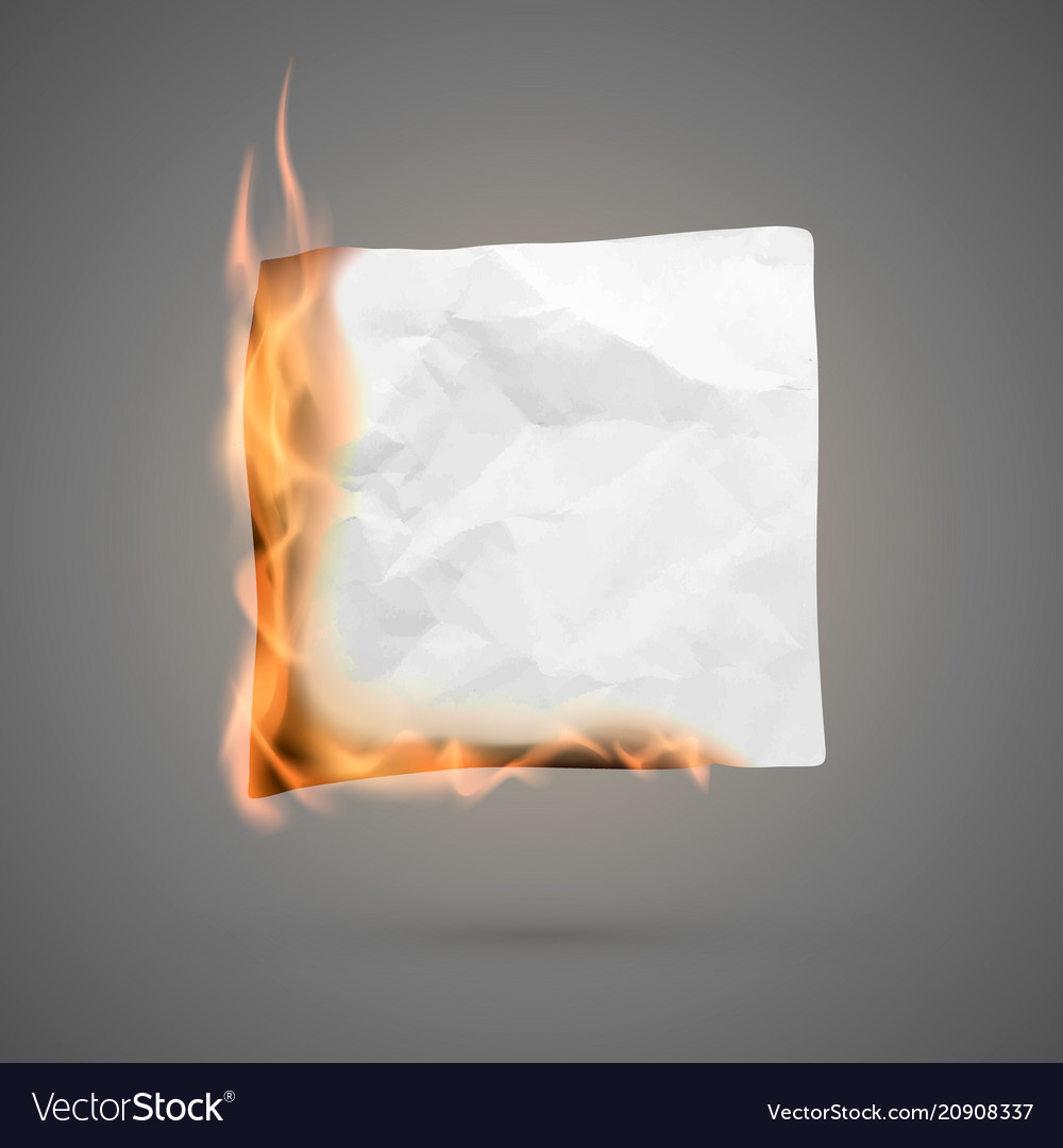 Burning piece of crumpled paper crumpled empty