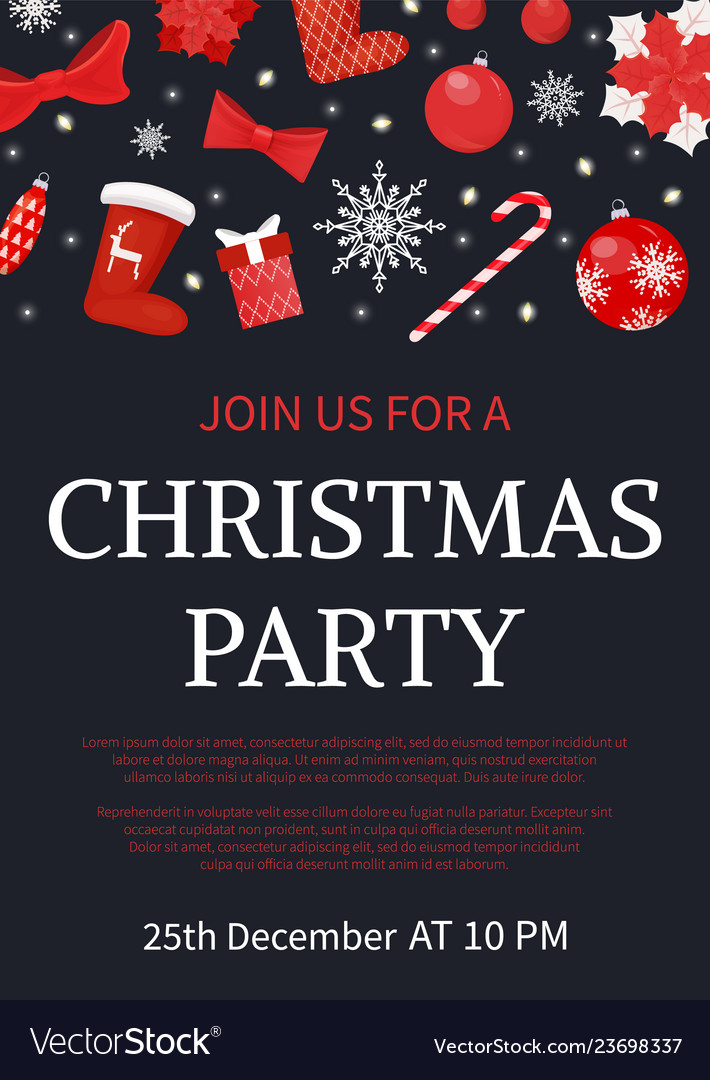Christmas party join us poster with text sample