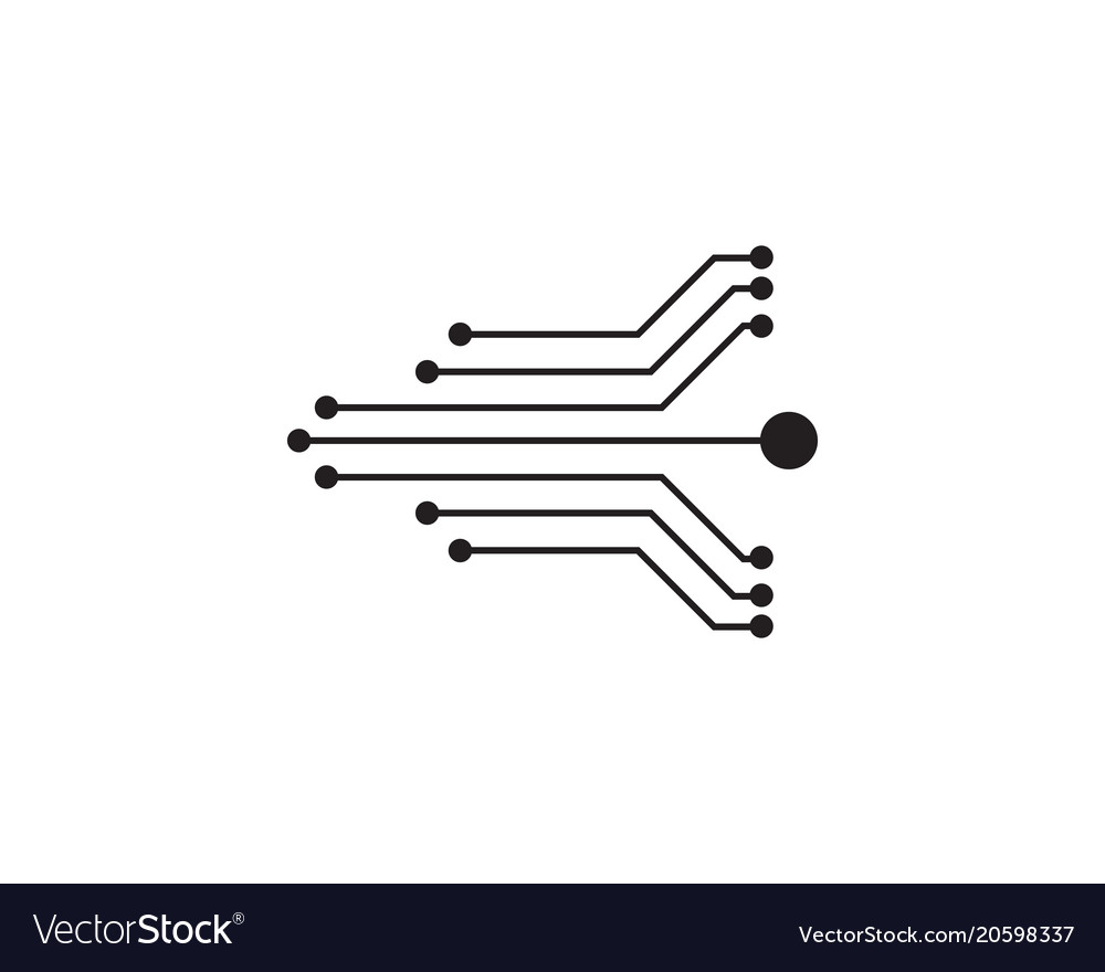 Circuit design symbol logo technology Royalty Free Vector