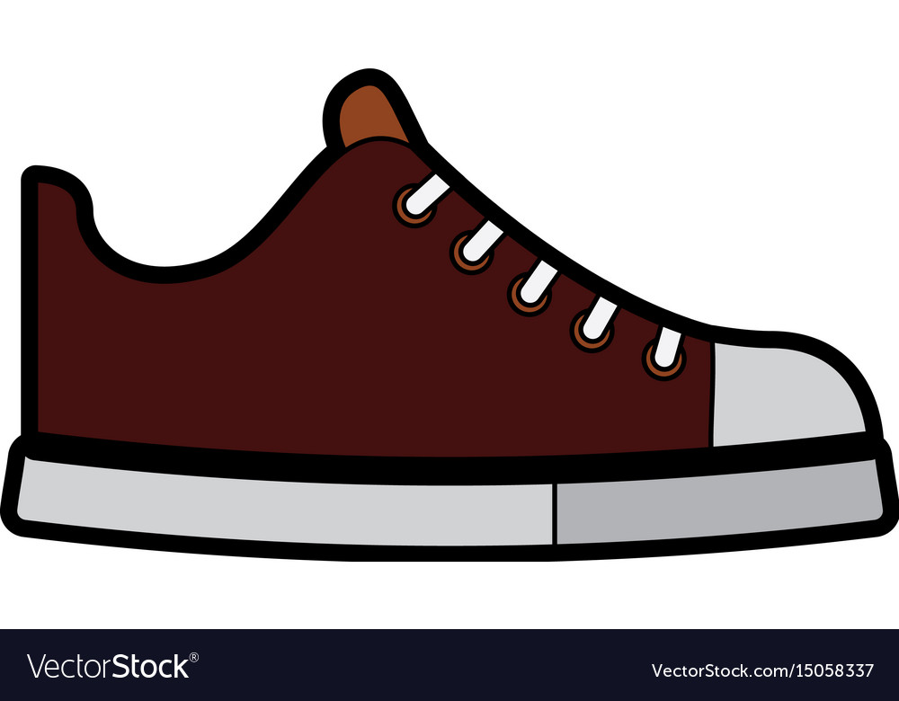 cute brown shoe cartoon royalty free vector image rh vectorstock com shoe print vector vector shoes free download