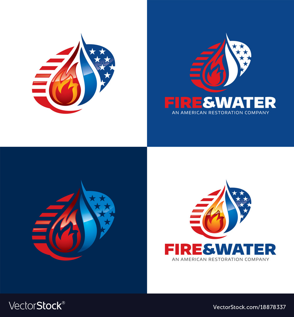 Fire and water american restoration icon and logo