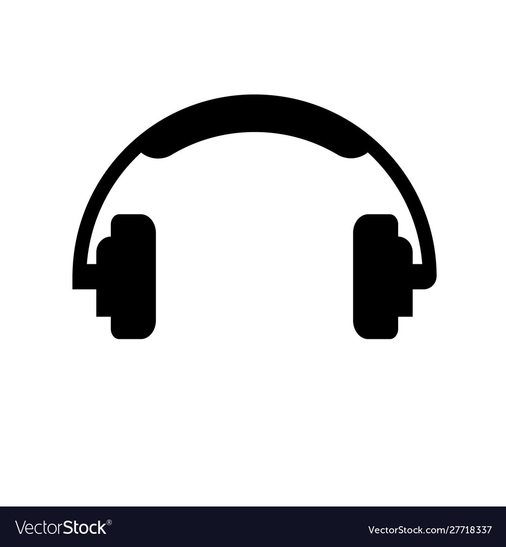 Headphone simple icon on white isolated