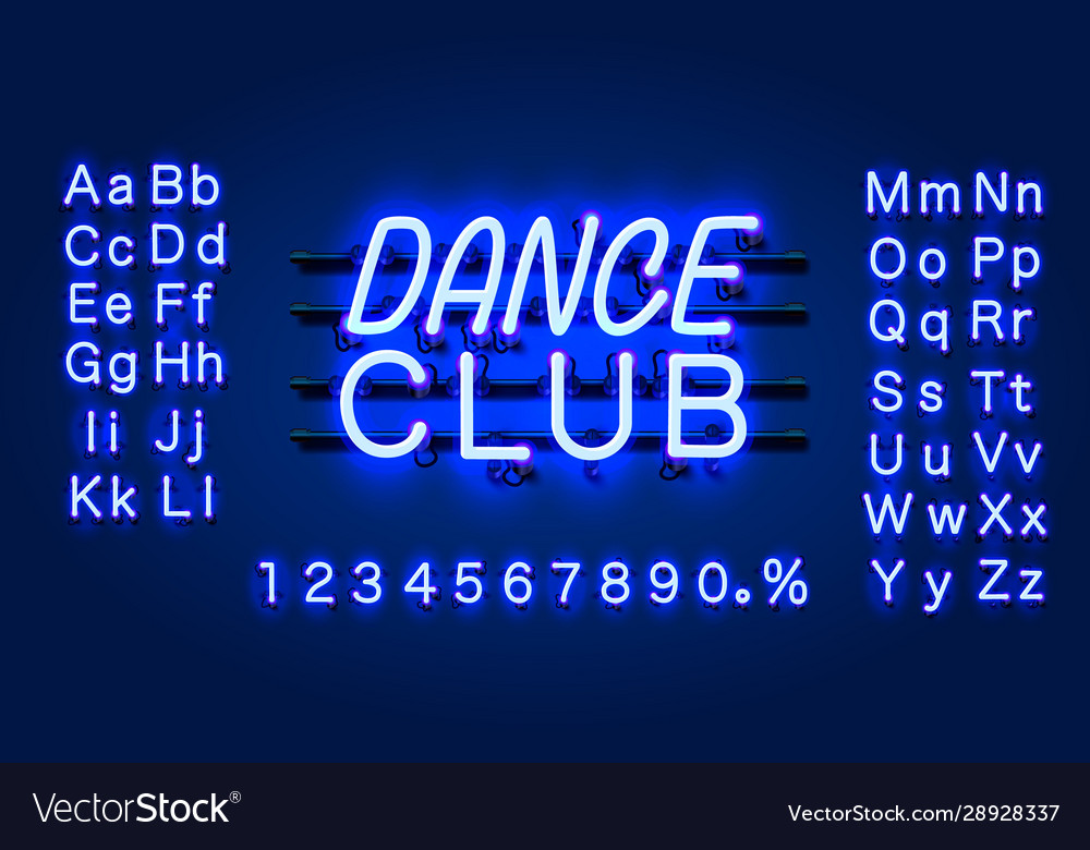 Neon dance club text banner night sign board