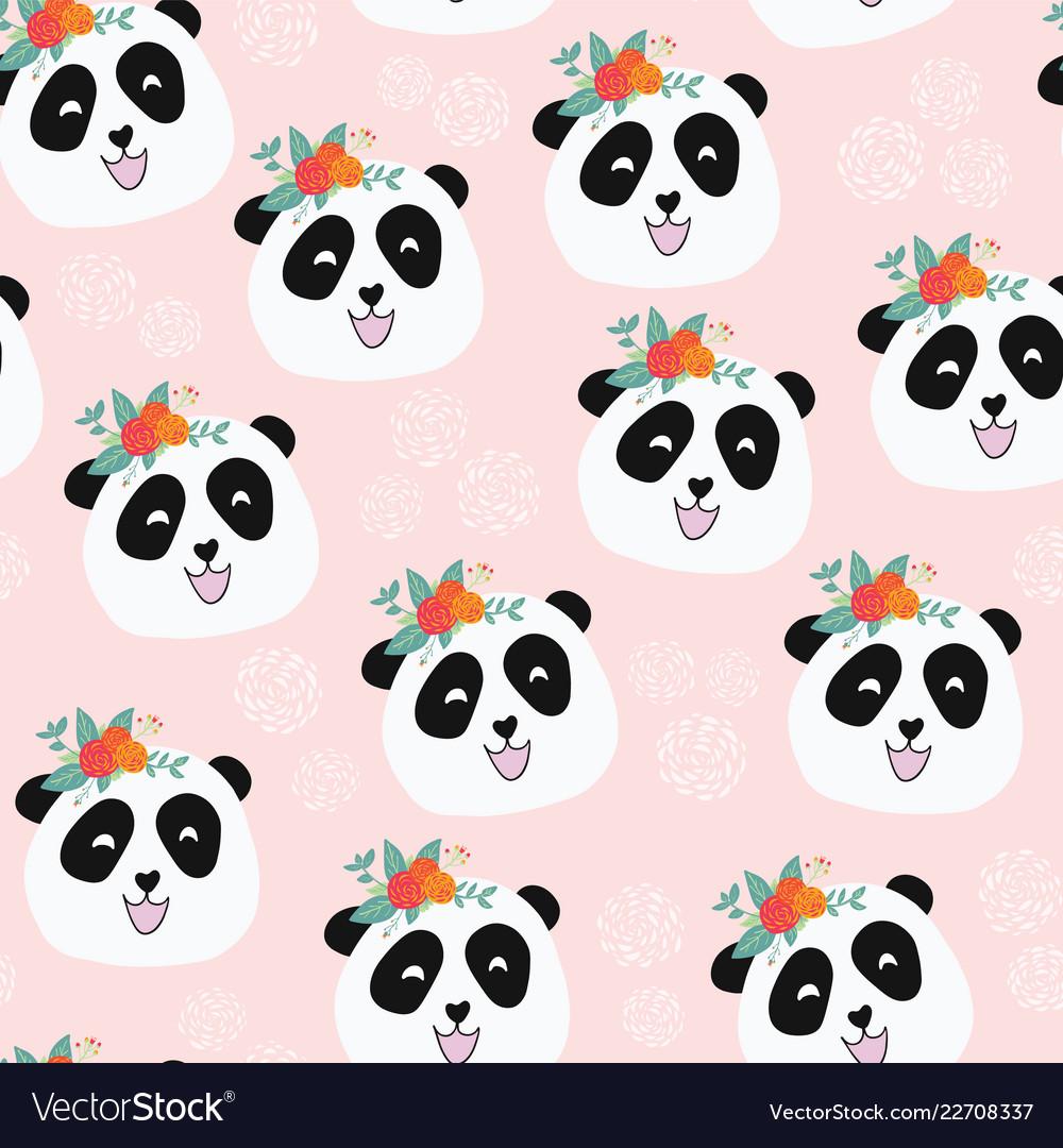 Panda bear with flowers seamless pattern