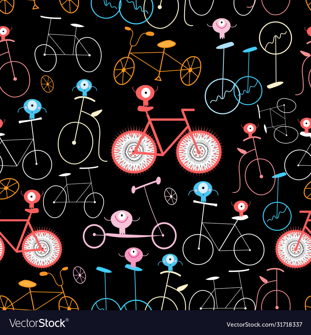 Seamless graphic pattern funny retro bicycle