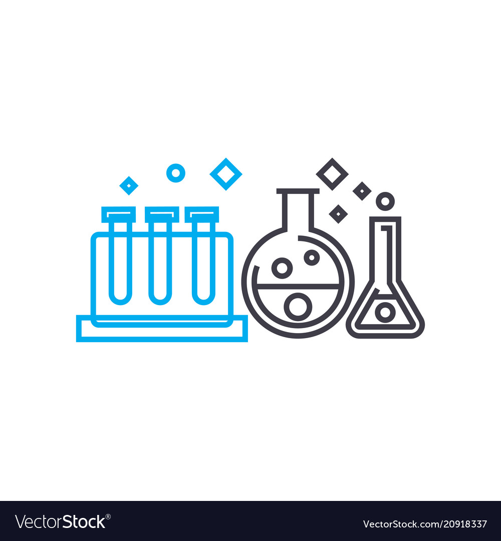 Study of chemistry linear icon concept study of vector image