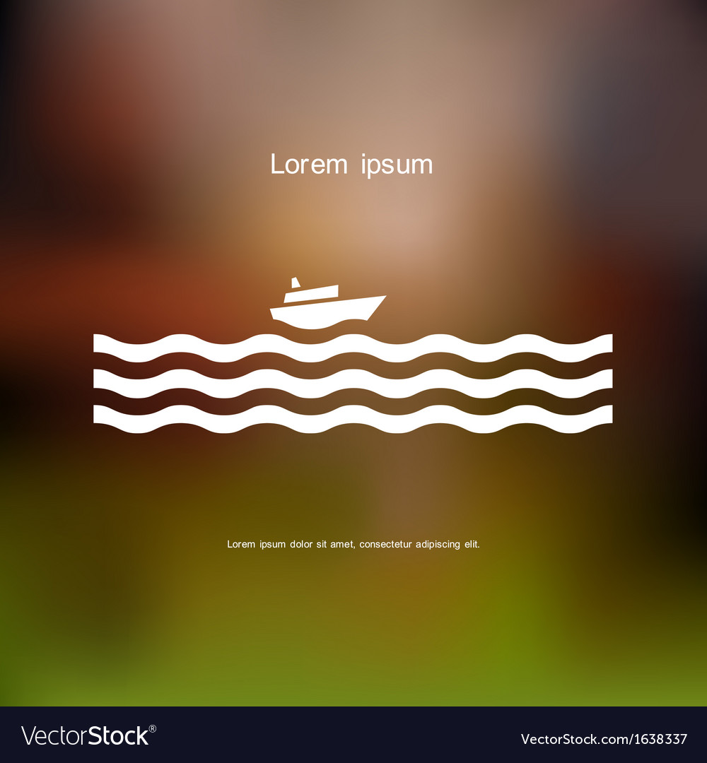 Stylized cruise liner and waves vector image