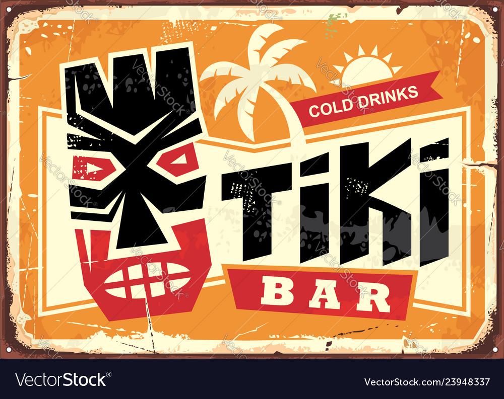 Tiki bar vintage tin sign with hawaiian mask