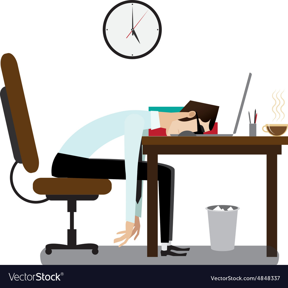 Tired office man sleeping at desk Royalty Free Vector Image