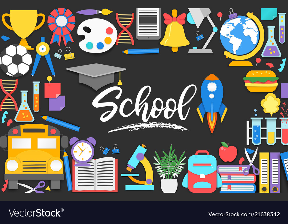 Back to school background with 3d paper cut signs