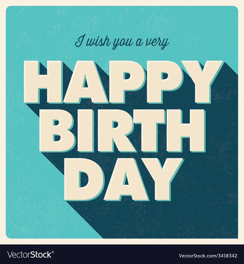 Birthday card retro design blue vector image