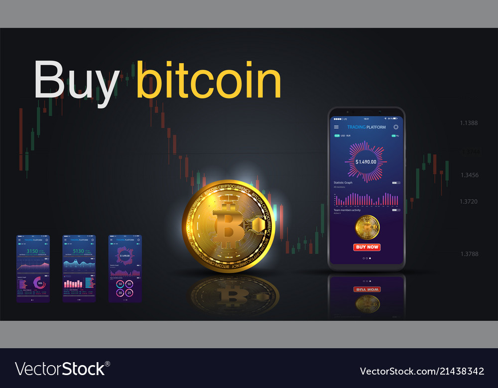 Bitcoin icon of golden color on the screen phone