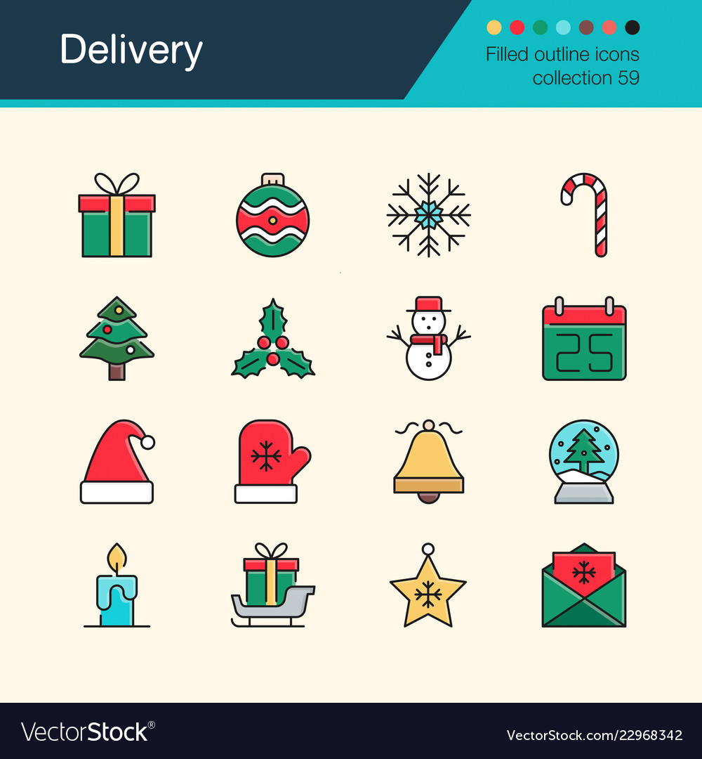 Christmas decoration icons modern line design set