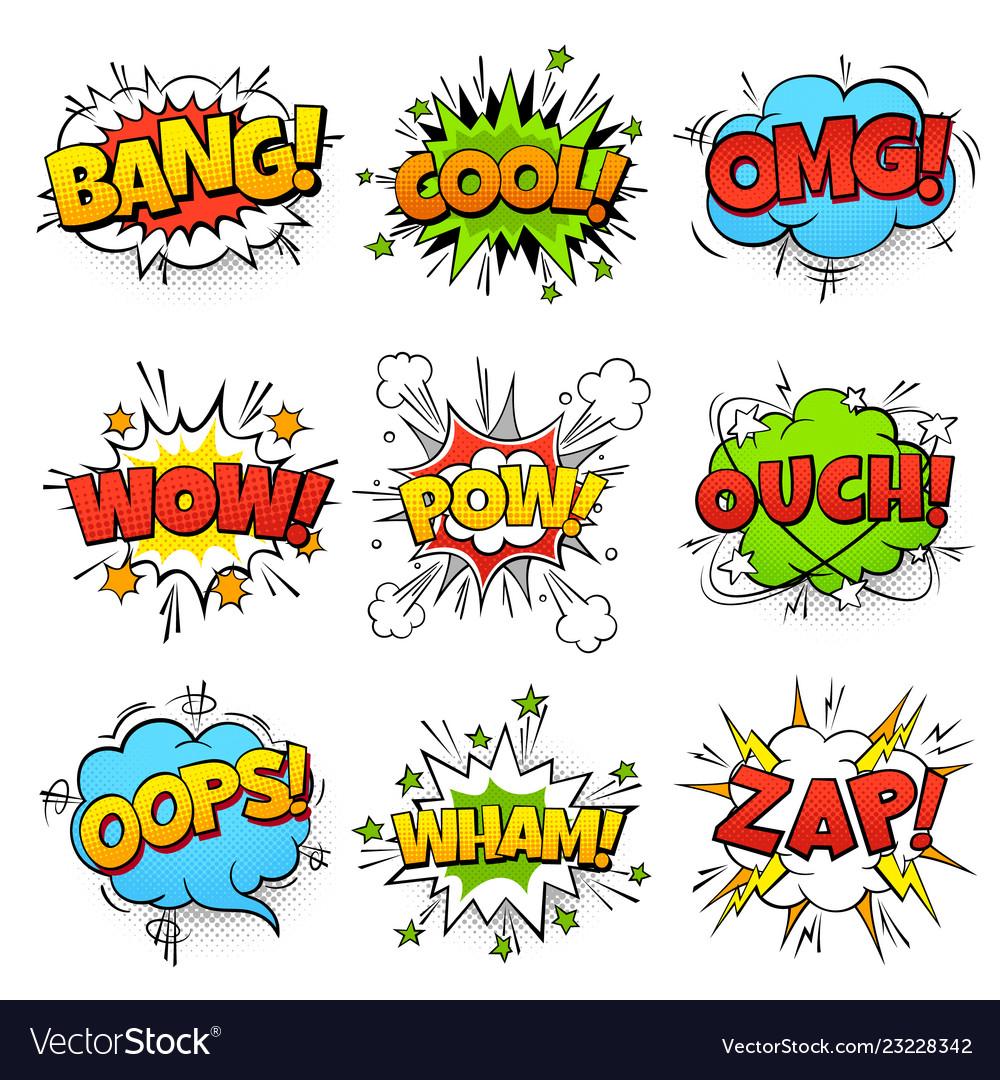 Comic words cartoon speech bubble with zap pow