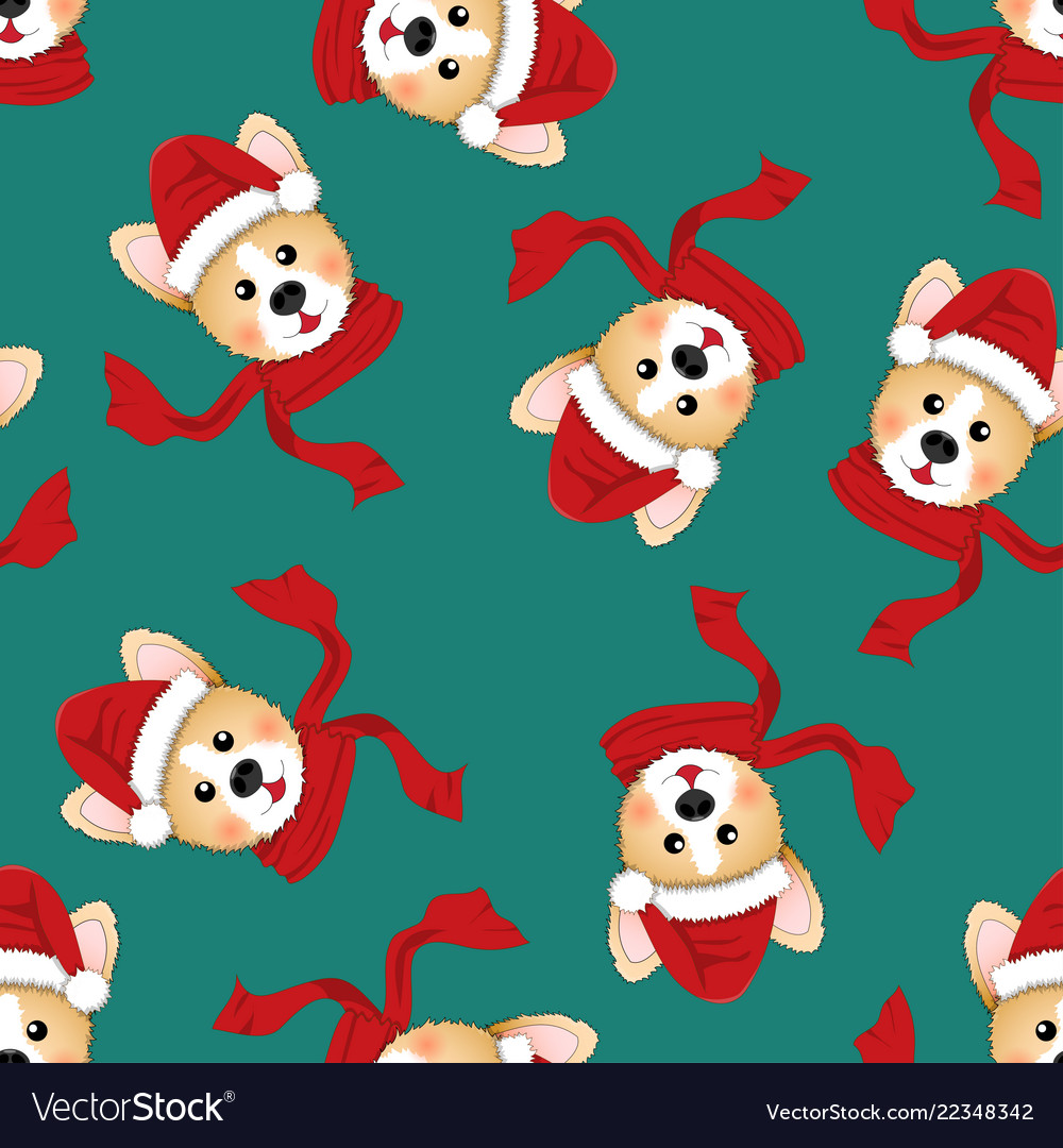 Corgi santa claus with red scarf on green