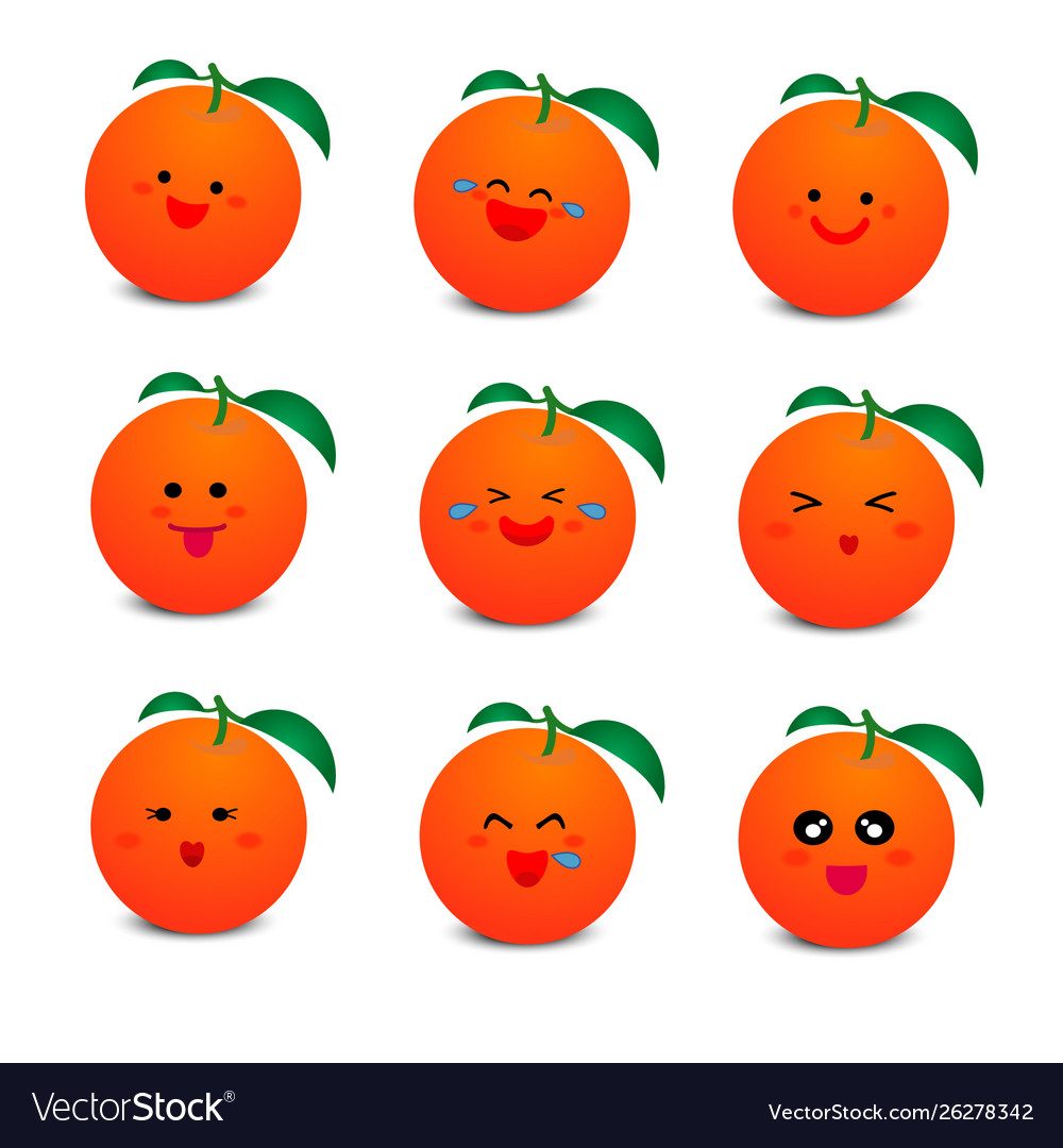 Cute orange with smiley face