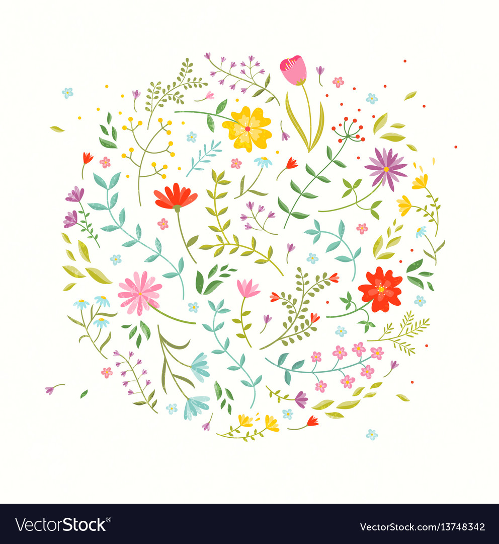 Floral design element greeting card with cute