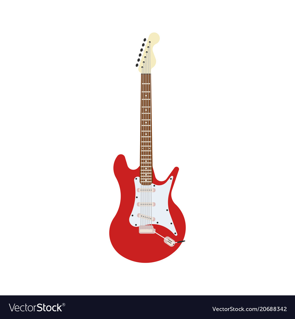 Guitar electric red rock music instrument