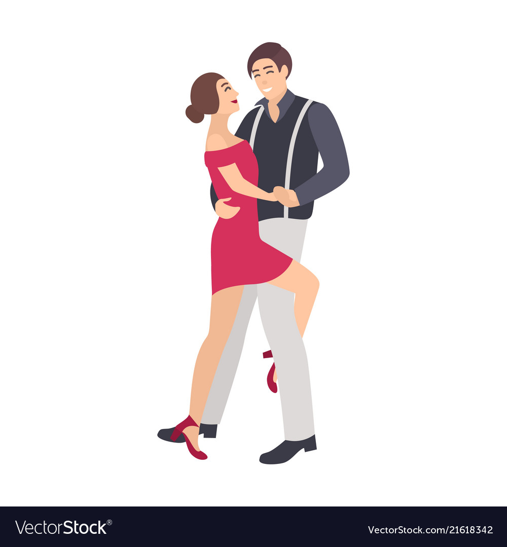 Pair of elegantly dressed boy and girl dancing