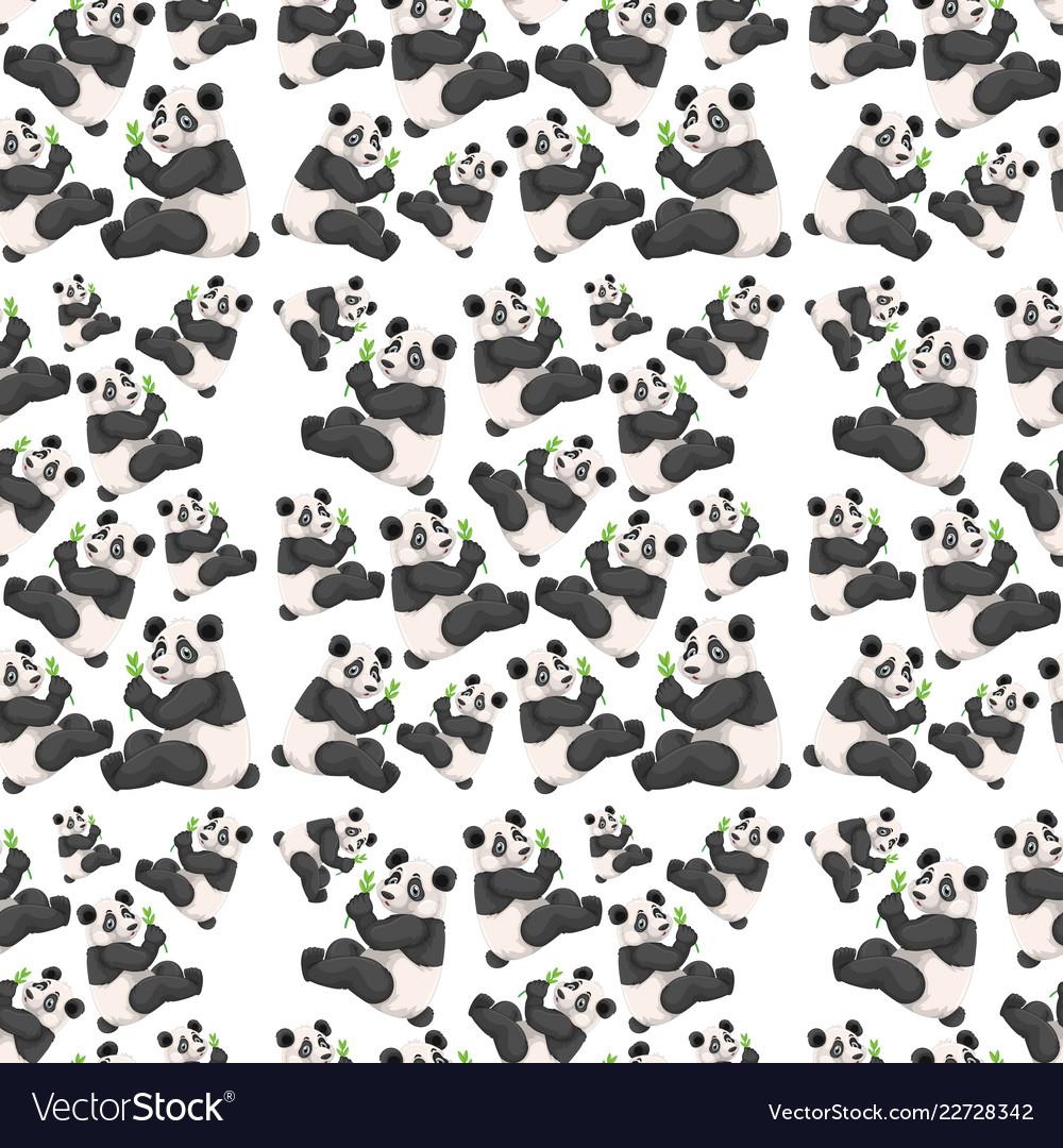 Seamless cute panda wallpaper vector image