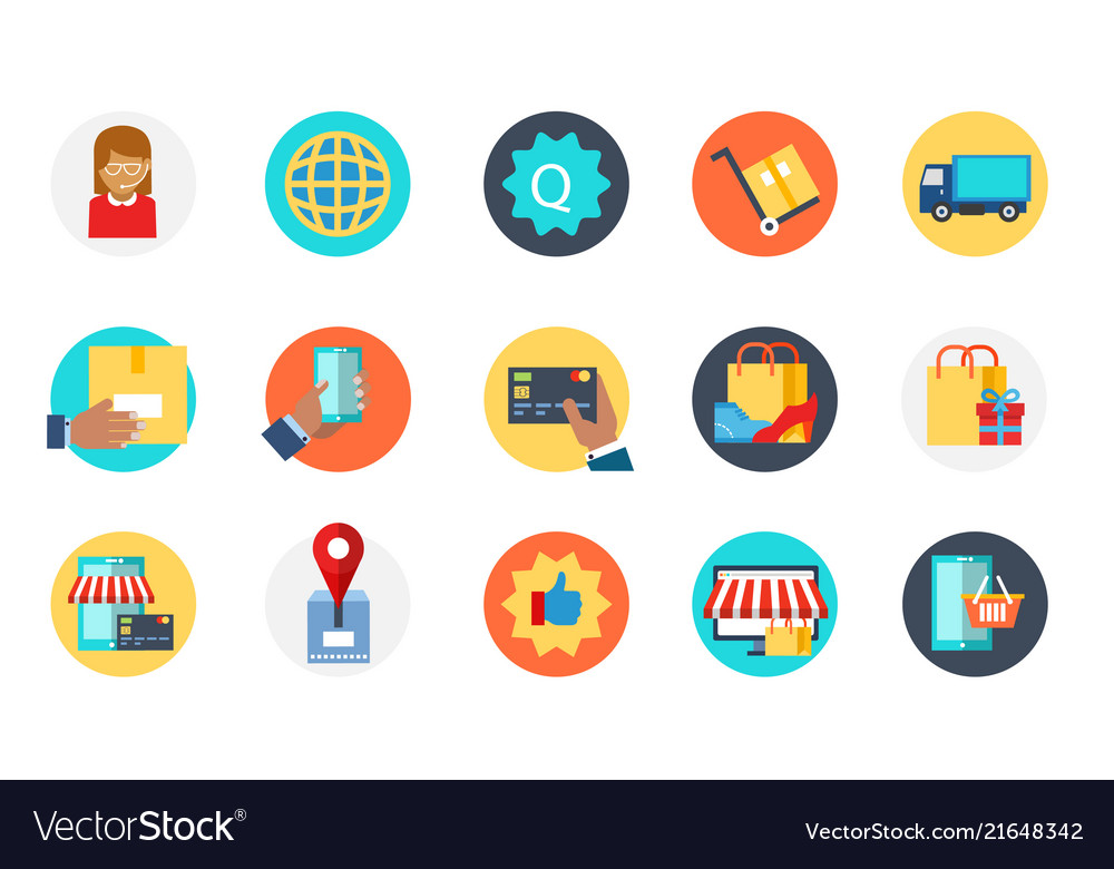 Set of e-commerce icon delivery purchase sale